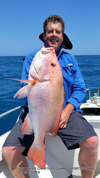 Reef Fishing for Large Mouth Nannygai on the Great Barrier Reef from Cairns with Grant