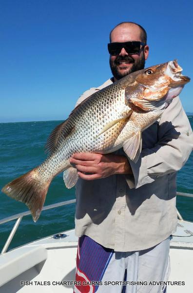 River Fishing for 71 cm Fingermark (Golden snapper)