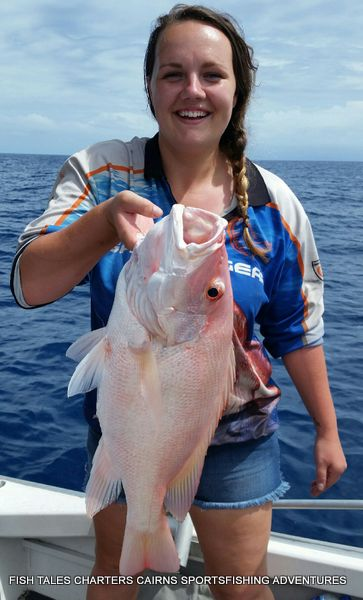 Reef fishing from Cairns with Rebecca and her Large Mouth Nannygai