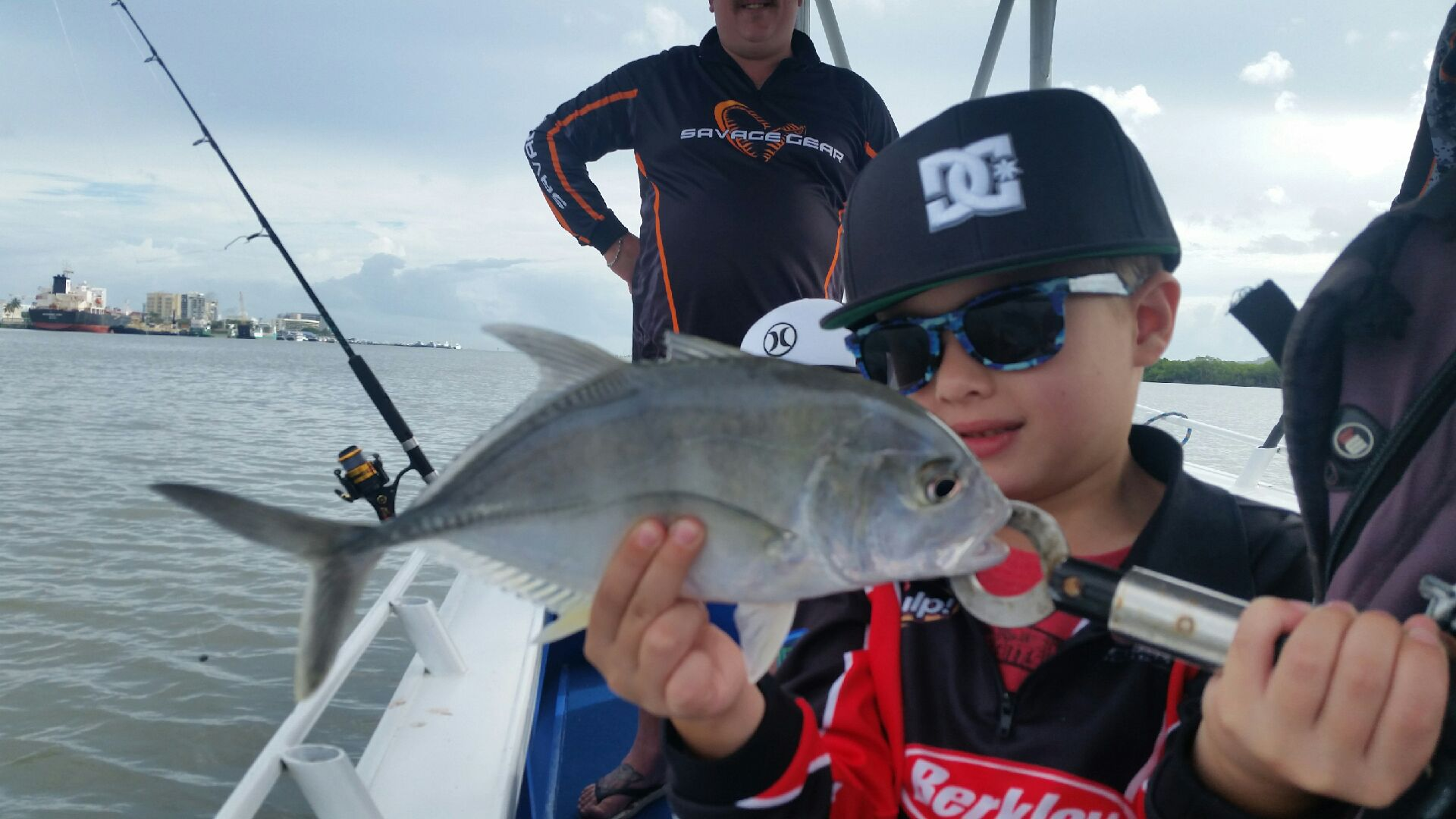 Jack estuary fishing with his family on their Cairns holiday
