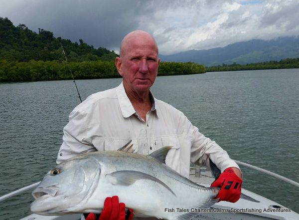 River fishing for Giant Trevally using Poppers