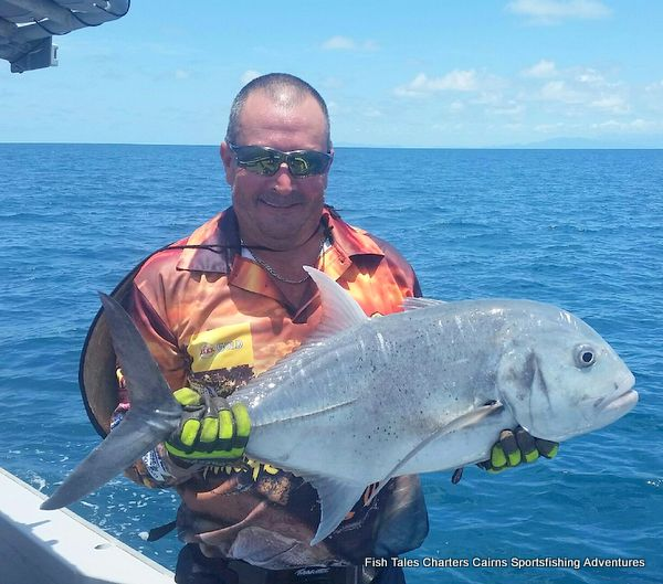 Popper fishing on the Great Barrier Reef from Cairns for GT`s Giant Trevally