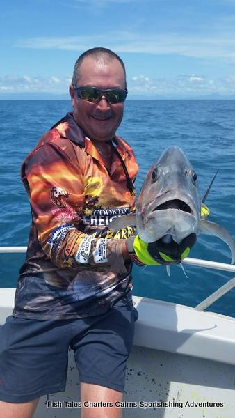 Popper fishing on the Great Barrier Reef from Cairns for GT`s