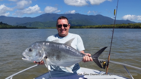 Sports fishing for Giant Trevally on the Mulgrave & Russell River and Mutchero Inlet