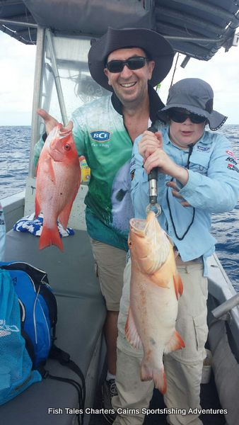 Stewart and his Small Mouth Nannygai (Crimson Snapper) & Finlay and his Coral Trout